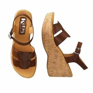 Korks by Kork-Ease Brie Brown Leather Wedges Sandals Size 7